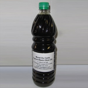 bottle of black olive oil